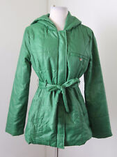 TULLE Cute Green Puff Quilted Tie Front Hooded Jacket Coat Size M