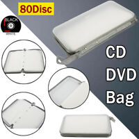 80Disc Car DVD CD Blu Ray Storage Bag Plastic Hard Carry Case Wallet Ring Binder