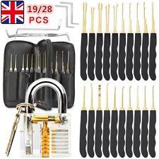 New 26pcs Practice Lock Pick Padlock Picking Tools Kit Transparent Training Set