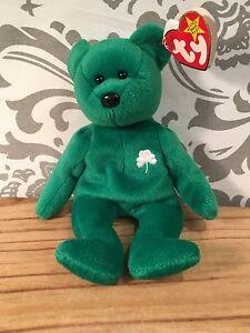 TY Beanie Baby Erin Green St. Patrick's Day Teddy Bear 1997 Stocking Stuffer#393