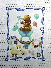 Teddy Bear Rocking Horse Baby Quilt top Panel Fabric 100% Cotton Hearts balloons