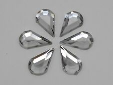 200 Clear Acrylic Flatback Faceted Teardrop Rhinestone Gems 8X13mm No Hole
