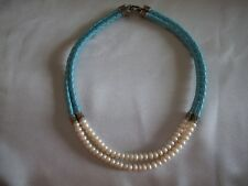Double Row Fresh Water Pearl Turquoise Braided Leather 925 Silver Necklace