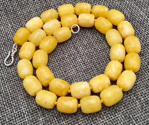 """New AAA Natural 8x12MM AFRICA Yellow jade GEMS BEADS NECKLACE 24"""""""