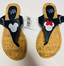 Mickey And Minnie Womens Embroidered Black Sandals Size 7