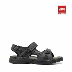 Hush Puppies SIMMER Black Mens Sport/Surf Casual Leather Sandals