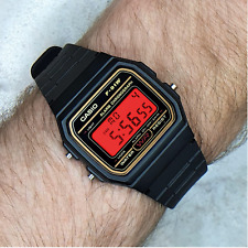 Genuine Casio F91W Watch (Gold detail) with Flame Red Screen Modification