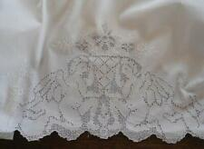 Vintage Set Heirloom Pillowcases Cherubs Mosaic Lace Embroidered Pair