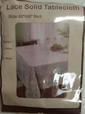 """Lace Solid Tablecloth 60""""×90"""" Rect. Beige"""