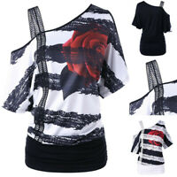 Womens Short Sleeve Skew Neck Floral Print One SHoulder Strapless T-Shirt Tops