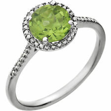 Genuine Peridot Round Gemstone & Diamonds Halo Style Ring in 925 Sterling Silver
