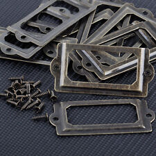 12x Antique Drawer Label File Pull Handle Card Frame Cabinet Name Brass Holders