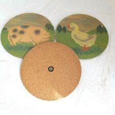 "Retro Round Melamine Place Mats x 3, Farm Animals, 7.5"" Diameter, New Old Stock"
