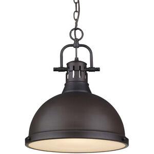 Golden Lighting 3602-L RBZ-RBZ Duncan 1-Light Chain Pendant Rubbed Bronze ~NEW