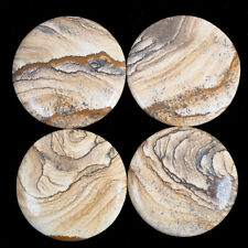 4 Pcs Natural Picture Jasper 46.65mm-49mm Top Quality Loose Cabochon Gemstones