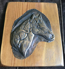 Picture Of Horse engraved in Copper On Wood