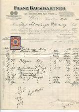Alte Rechnung 1914 aus Linz, Franz Baumgartner, Band-Seide-Wolle,  12/3/14
