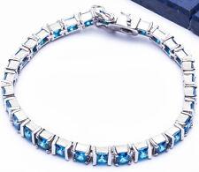 "BEAUTIFUL 11.5CT PRINCESS CUT BLUE TOPAZ .925 Sterling Silver Bracelet 7.5"""