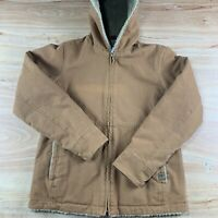 WOMENS Real Ranch WORK JACKET TAN HOODED CANVAS SHERPA LINED SMALL REGULAR COAT