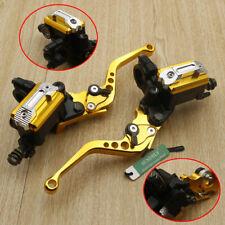 7/8'' Motorcycle Bike Brake Clutch Master Cylinder Levers Reservoir Gold 12.7mm