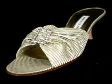 MANOLO BLAHNIK Gold Striped Jacquard Crystal Buckle Slides Sandals 39 NEW