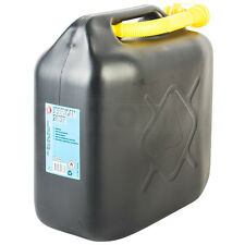 Black Plastic Jerry Fuel Can Petrol Diesel Water Container With Spout 20 Litre