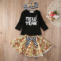 Toddler Kids Baby Girls Clothes T-shirt+Tutu Skirt Headband 3PCS Outfits Dress