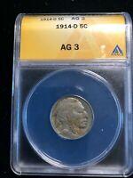 1914 D Denver Buffalo Indian Head Nickel 5 Cents ANACS AG 3 Early Date
