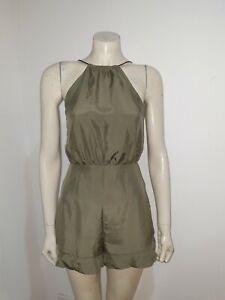 Kookai Pure Silk Sleeveless Backless Romper Playsuit Jumpsuit Size 8