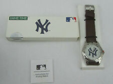 New Game Time 2007 New York Yankees Watch With Brown Band NIB Needs Battery