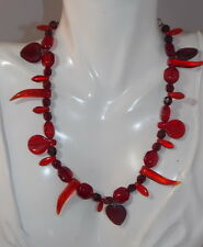 Vintage Christmas Red Molded Glass Horn Heart Leaf Bead Necklace Extender 12d 17