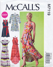 MCCALL'S SEWING PATTERN 7119 MISSES SZ 14-22 WRAP DRESSES - MAXI, SHAPED HEMLINE