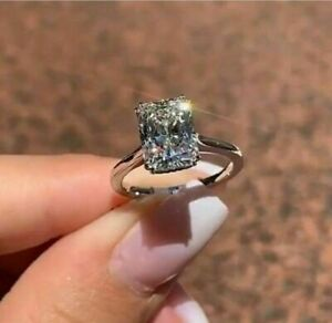2Ct Emerald Cut VVS1/D Diamond Solitaire Engagement Ring 14K White Gold Finish