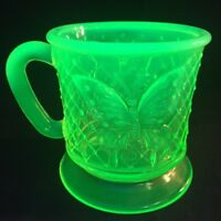 Fenton Art Glass Vaseline Opalescent Butterfly Mug  F.A.G.C.A. 1988