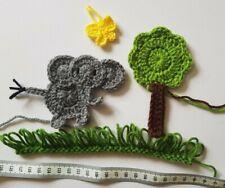 Handmade crochet applique set: cute elephant, tree and butterfly