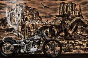 HARLEY DAVIDSON KNUCKLEHEAD WESTERN GHOSTRIDER COWBOY STURGIS BIKER ART PRINT