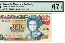 BERMUDA-SCARCE 50 DOLLARS-1996-PICK 44c **PMG 67 EPQ SUPERB GEM UNC**POP 1**