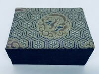 Antique Victorian French Art Nouveau Embroidered Silk Jewelry Presentation Box
