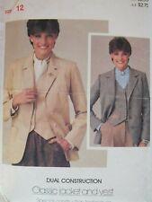 Lovely VTG 80s BUTTERICK 3924 Misses Classic Jacket & Vest PATTERN 12/34B Suede!