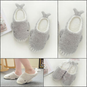 Cartoon Whale Plush Slippers Women Winter Warm Soft Sole Shoes Non Slip Bottoms