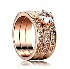 18K Gold GP Austrian Crystal Flower AAA CZ Zircon lady Marriage Rings Set R93b