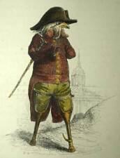LE VIEUX COQ DE COMBAT estampe gravure originale aquarellée Grandville 1842
