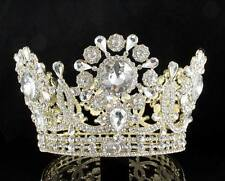 "3.75"" HIGH BEAUTY QUEEN CRYSTAL RHINESTONE FULL TIARA CROWN PAGEANT T2132G GOLD"