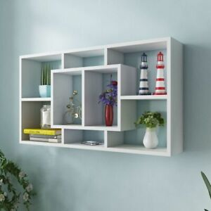 Wall Mounted Shelf With 8 Compartment Floating Display Rack Storage Furniture