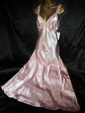 Stunning  silky satin nightie slip negligee 14 36 chest 56  long pink  xmas gift