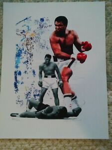 Muhammad Ali artist hand signed and numbered 228 of 623 print. Size 17 x 22