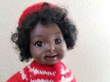 """Beautiful Black Child Porcelain 9"""" Doll OOAK, 1984 red & green winter outfit"""
