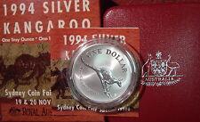 1994  $1 Kangaroo silver 1oz specimen coin Coin Fair Low Mintage of 2,500 coins
