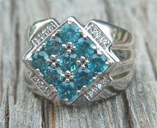 Designer Large Sterling Blue Topaz Diamond Chip Ring Size 11