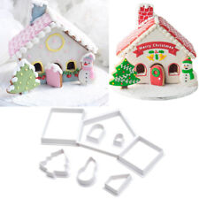 8Pc/Set Gingerbread House Cookie Cutters Christmas Fondant Cupcake Baking Mould